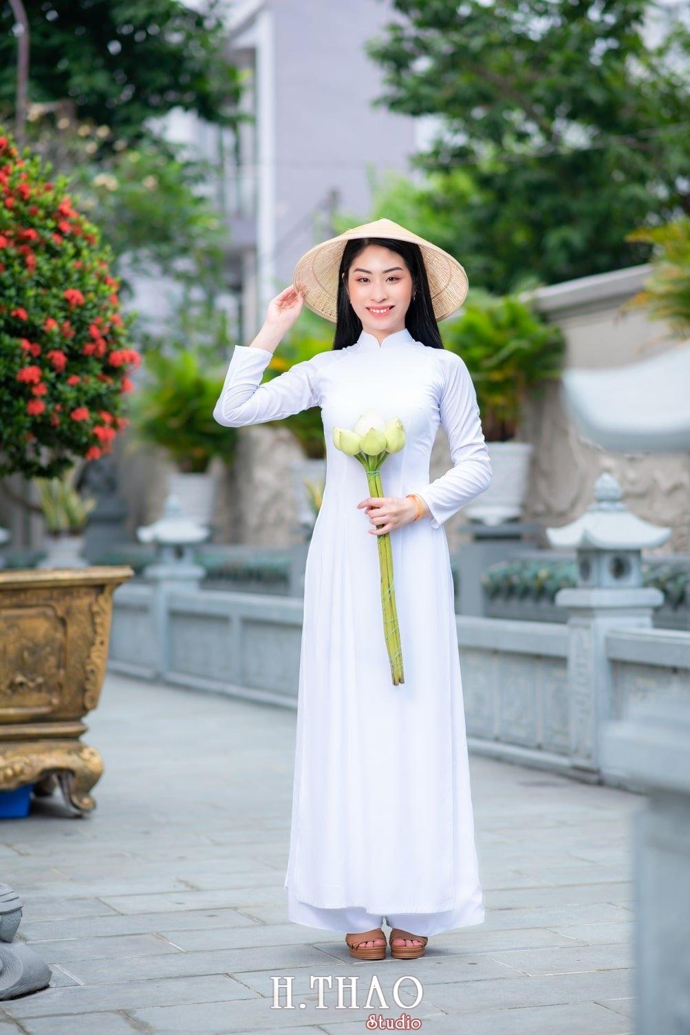 Ao dai trang 1 - Album áo dài trắng tại Thiền Viện Vạn Hạnh - HThao Studio